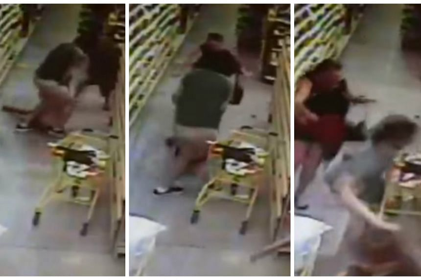 Screenshots show the man grabbing the girl, who is dragged along the floor, as her mum is in pursuit.