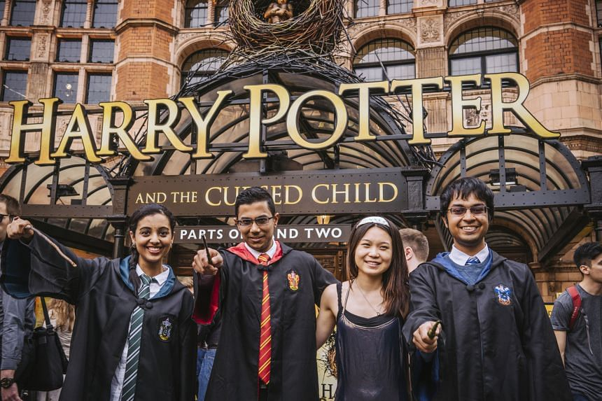 College students in Hogwarts garb waiting to see Harry Potter And The Cursed Child on the play's first night of previews in London yesterday.
