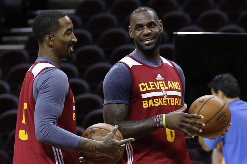 Cleveland Cavaliers' LeBron James (right) and J.R. Smith practise at the Quicken Loans Arena in Cleveland ahead of Game 3 of their NBA Finals series with the Golden State Warriors. The Cavaliers will hope playing at their home court will prove an advantag