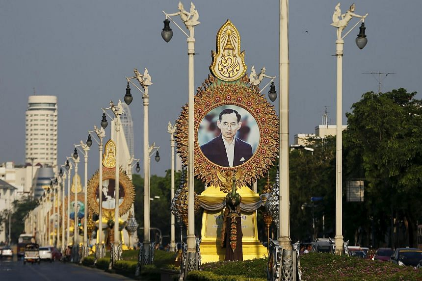 A picture showing Thai King Bhumibol Adulyadej is seen on a Bangkok street.