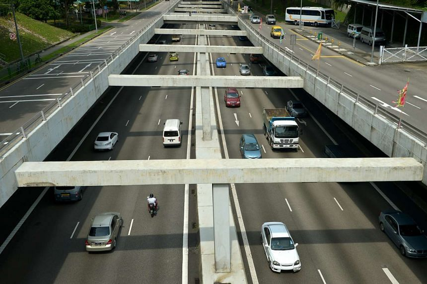 Traffic along the Central Expressway as seen from Chin Swee Road.