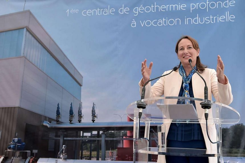 French minister for Ecology, Sustainable Development and Energy Segolene Royal delivers a speech in Rittershoffen, eastern France, on June 7, 2016.