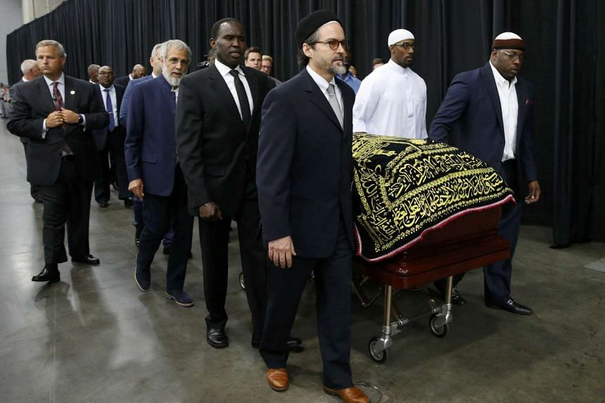 The coffin of late boxing champion Muhammad Ali arrives for a jenazah, an Islamic funeral prayer, in Louisville, Kentucky, on June 9, 2016.