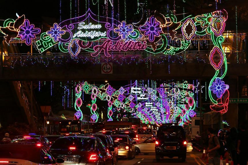 Festive decor and lights at Geylang Serai for Hari Raya 2016.