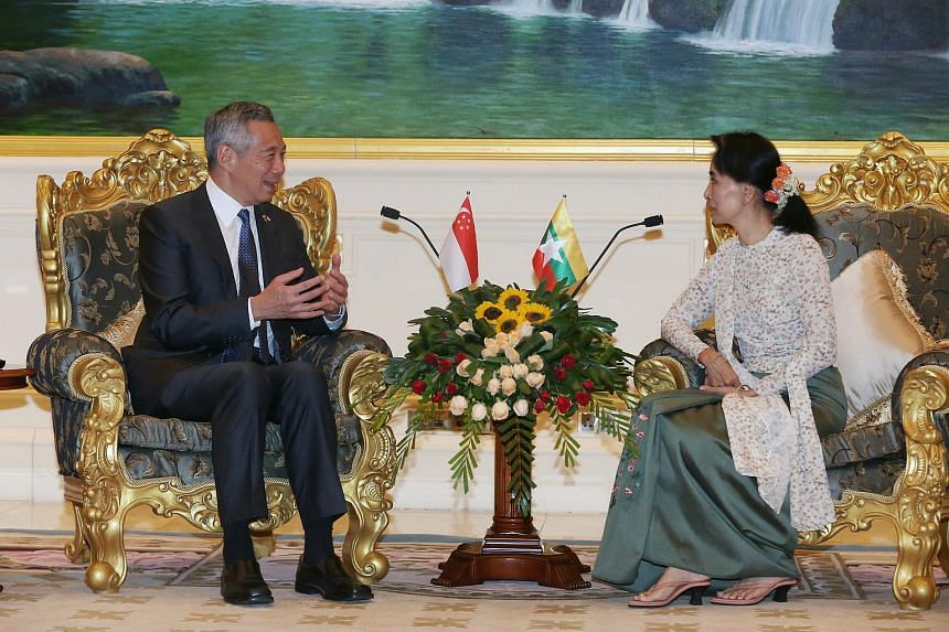 PM Lee Hsien Loong (left) meets with State Counsellor and Foreign Minister Aung San Suu Kyi on June 7.