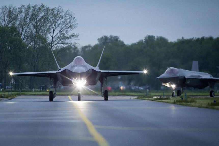 American F-35C Lightning II fighter jets landing in Leeuwarden, The Netherlands, on May 23.