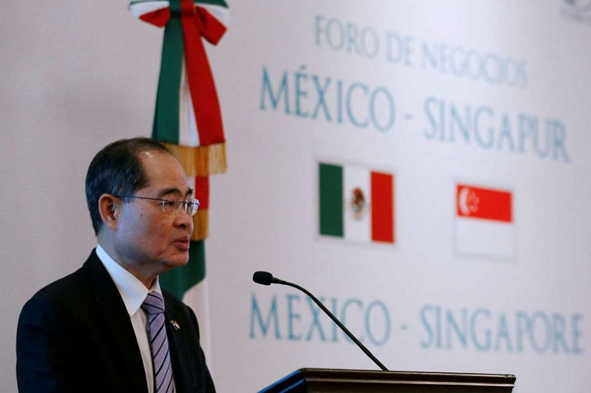 Minister for Trade and Industry (Trade) Lim Hng Kiang gives a speech at the Mexico-Singapore Business Forum at a hotel in Mexico City, on June 9, 2016.