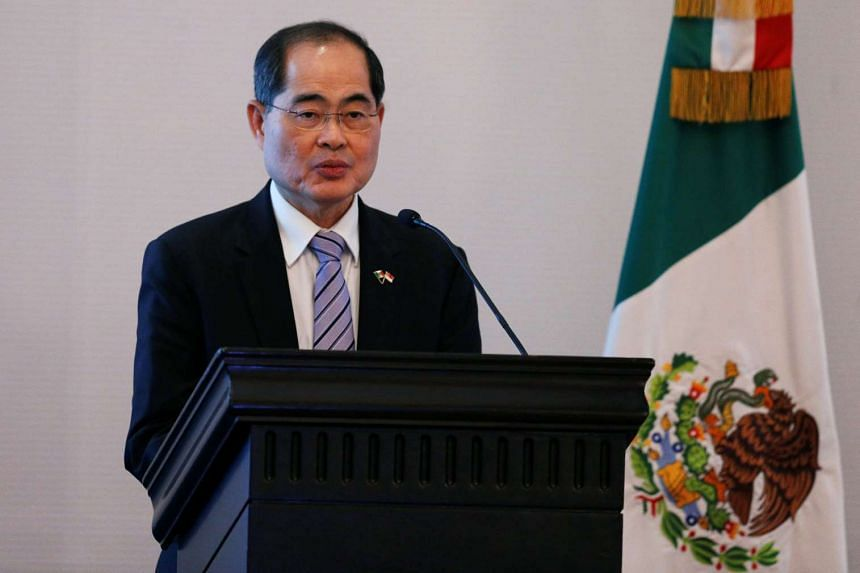 Trade Minister Lim Hng Kiang giving a speech at the Mexico-Singapore Business Forum at a hotel in Mexico City on June 9.