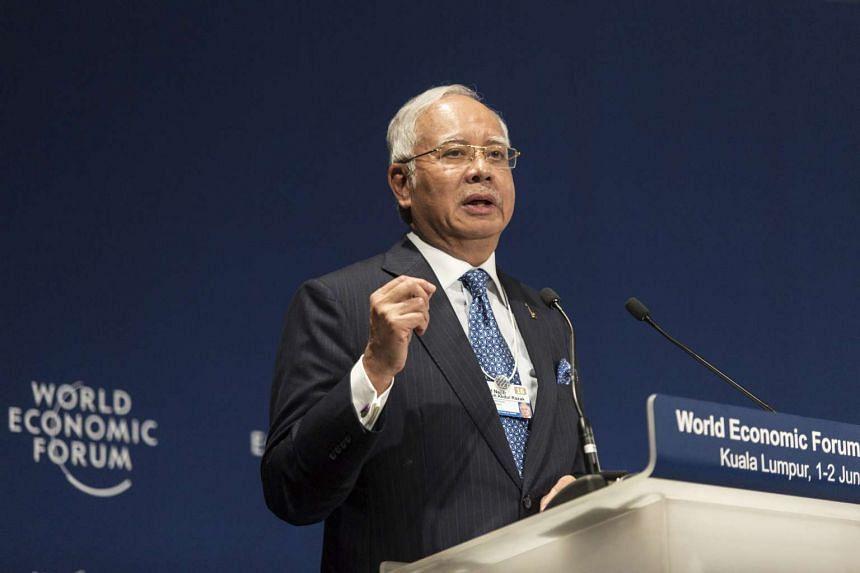 Malaysia's PM Najib Razak speaks during the World Economic Forum for ASEAN in Kuala Lumpur, Malaysia, on June 1.