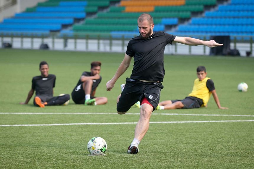 Tampines Rovers player Mustafic Fahrudin at a training session on April 15.