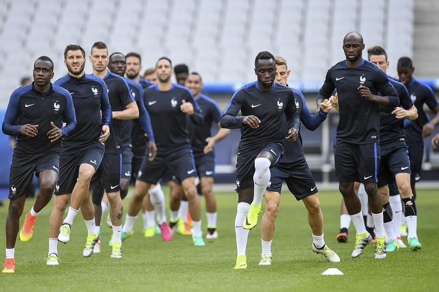 French national soccer team players take part in a training session at the Stade de France in Saint-Denis, France on June 9.