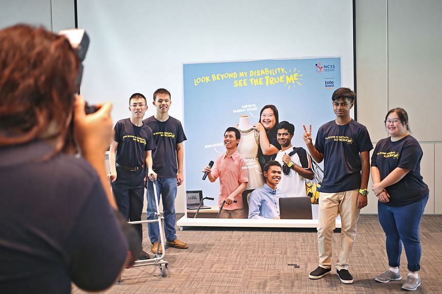 """The """"See the True Me"""" campaign launched earlier this month features (from left) Mr Ong Peng Kai, 24, Mr Dickson Tan, 21, Mr Ivan Romarrio Gomez, 16, and Ms Chen Wanyi, 27. Instead of """"See the True Me"""", the writer says a better message could be: """"Disabilit"""
