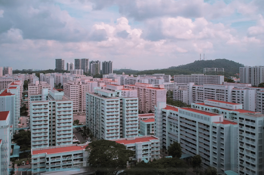 Artist Keith Loutit's video shows changes in the Singapore landscape over three years, including the construction of Housing Board flats.