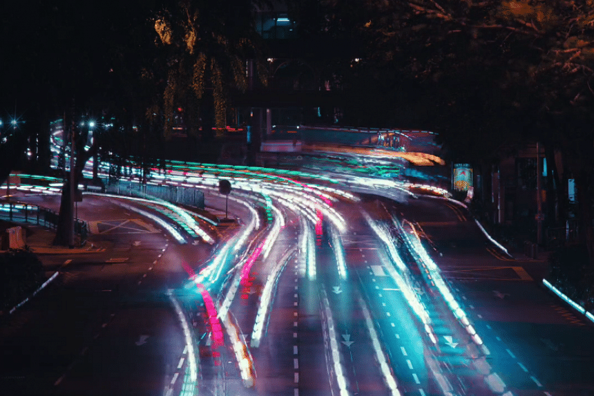 Besides buildings and landscapes, the movement of traffic is captured in The Lion City II - Majulah.