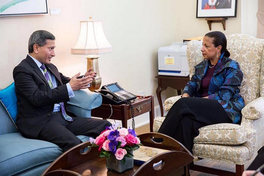 Minister for Foreign Affairs Vivian Balakrishnan (left) meeting US National Security Advisor Susan Rice.
