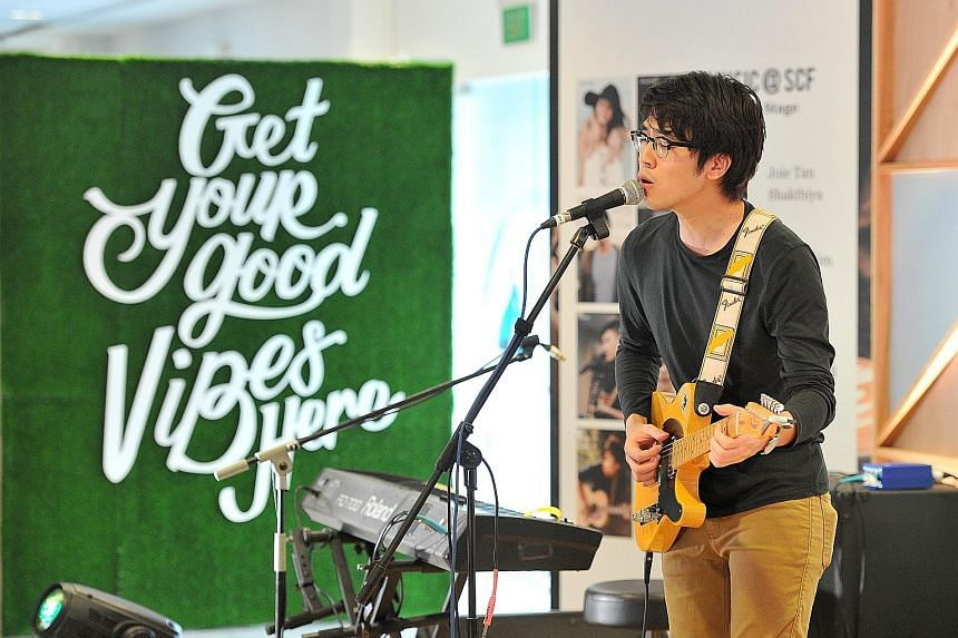 Charlie Lim performing at the Singapore Coffee Festival yesterday. Taking the stage today are other local acts like Jawn and iNCH.