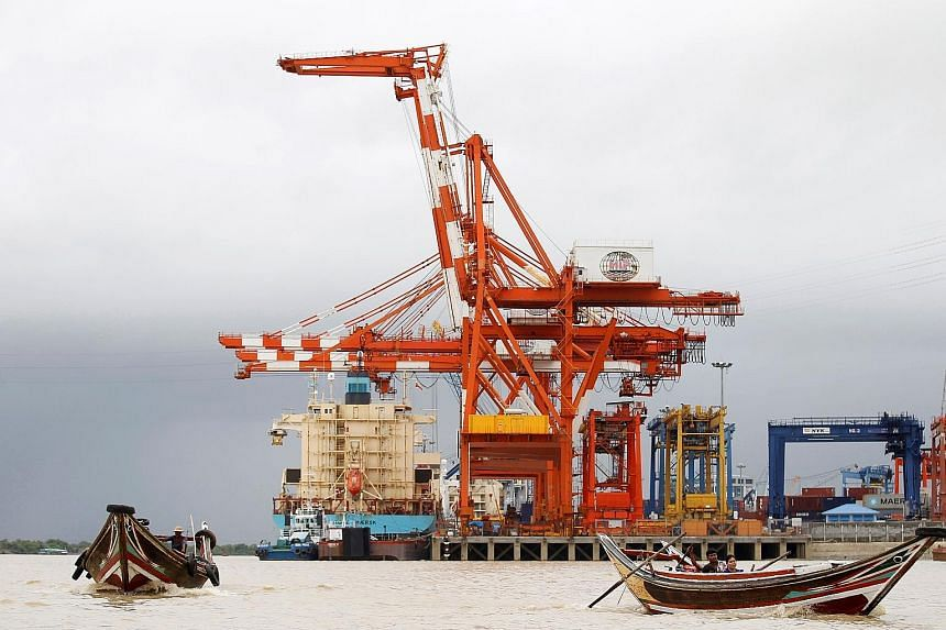 A view of the Myanmar Industrial Port on Thursday. International shipping lines confined themselves to a single terminal in the port.
