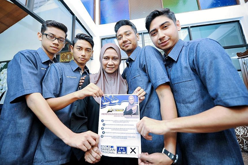 Ms Mastura's four sons have been campaigning for her while she is confined to her home during the mourning period.