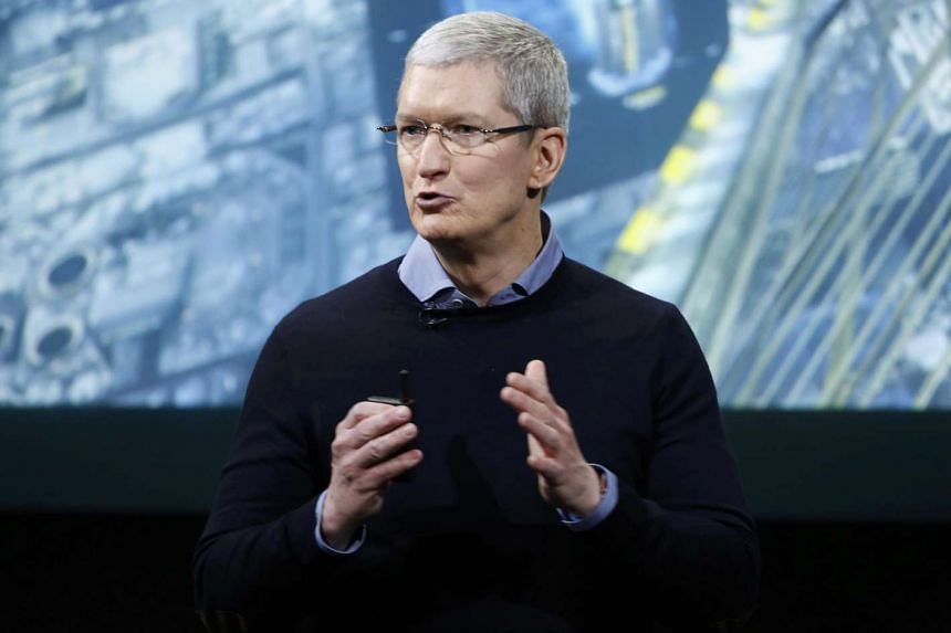 Apple CEO Tim Cook speaking during an event at the tech giant's headquarters in Cupertino, California, on March 21.