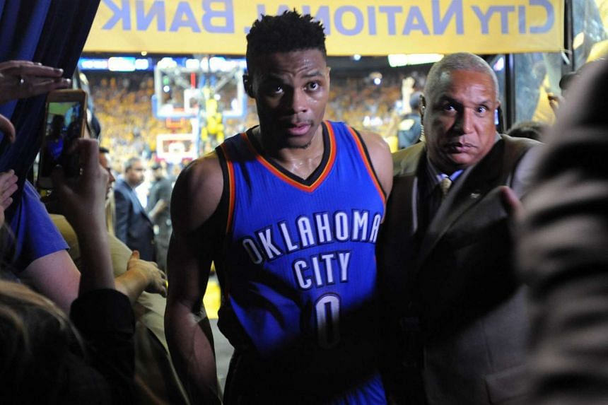 Russell Westbrook of the Oklahoma City Thunder walking off the court after being defeated by the Golden State Warriors on May 30.