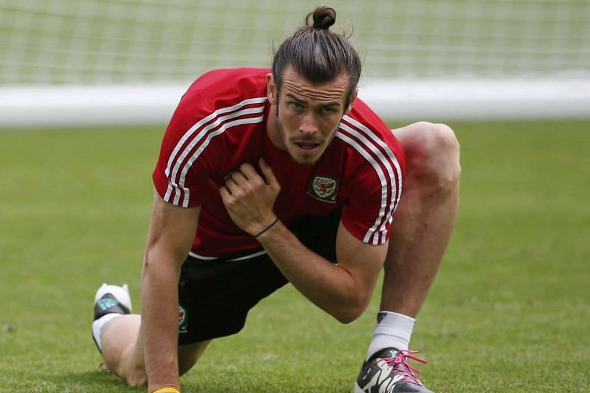 Wales' Gareth Bale attends a training session at the Futur Stade de Bordeaux in France, on June 10, 2016.
