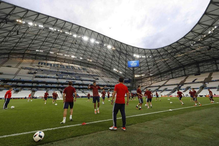 Russia's players attend a training session, on June 10, 2016, at the Stade Velodrome in Marseille, France.