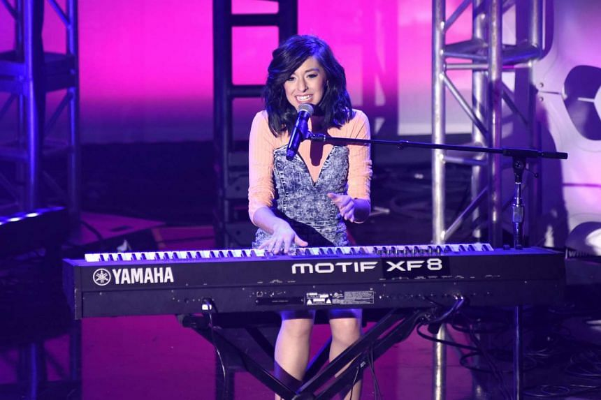 Christina Grimmie performing at What's Trending's Fourth Annual Tubeathon Benefitting the American Red Cross, on April 20, 2016, in Burbank.