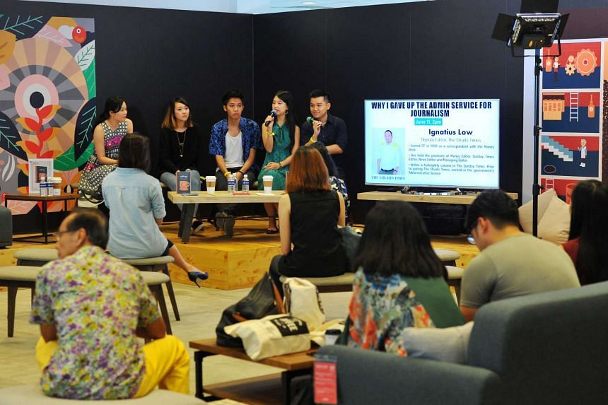 (From left) The Straits Times deputy managing editor Fiona Chan, who edited Cafe SG: A Cafe Lover's Guide To Singapore, with ST journalists Rachael Boon, Yeo Sam Jo, Olivia Ho and Lester Hio at the discussion yesterday.