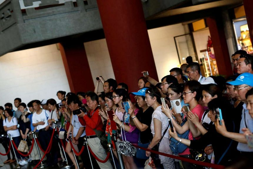 Tourists from China visiting the Sun Yat Sen Memorial Hall in Taipei.