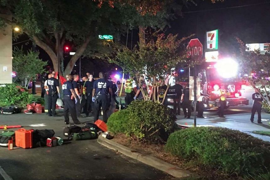 A handout photograph made available by Univision Florida Central showing a view of the general scene of a shooting at Pulse Nightclub in Orlando, Florida, on June 12, 2016.