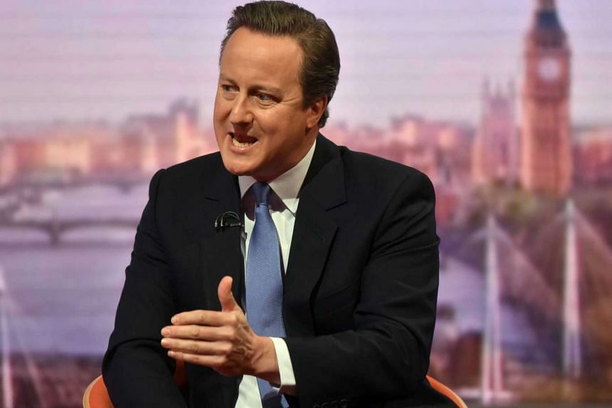 A handout image from the British Broadcasting Corporation (BBC) shows British Prime Minister David Cameron appearing on the Andrew Marr show at BBC Studios, Central London, Britain, on June 12, 2016.
