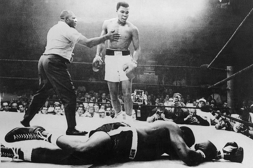 May 1965 MuhammadAli knocks out Sonny Liston for the world heavyweight boxing championship title in Maine. Ali took one minute and 44 seconds to demolish his fellow American's bid to recapture his world heavyweight title