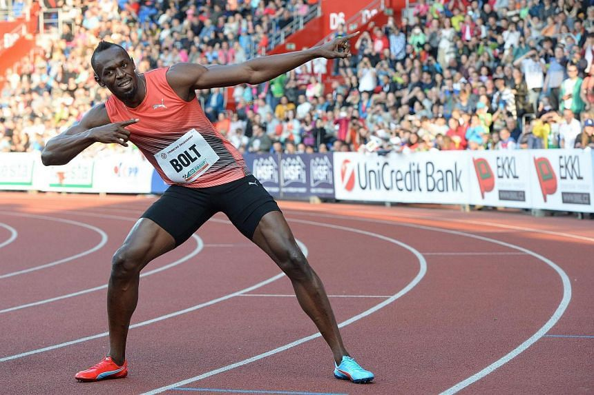 Usain Bolt poses after winning the Men's 100m event at the IAAF World challenge Zlata Tretra (Golden Spike) athletics tournament in Ostrava, on May 20, 2016.