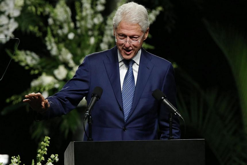 Former US President Bill Clinton delivering a eulogy at Muhammad Ali funeral service at the KFC YUM! Center in Louisville, Kentucky, USA, on June 10.