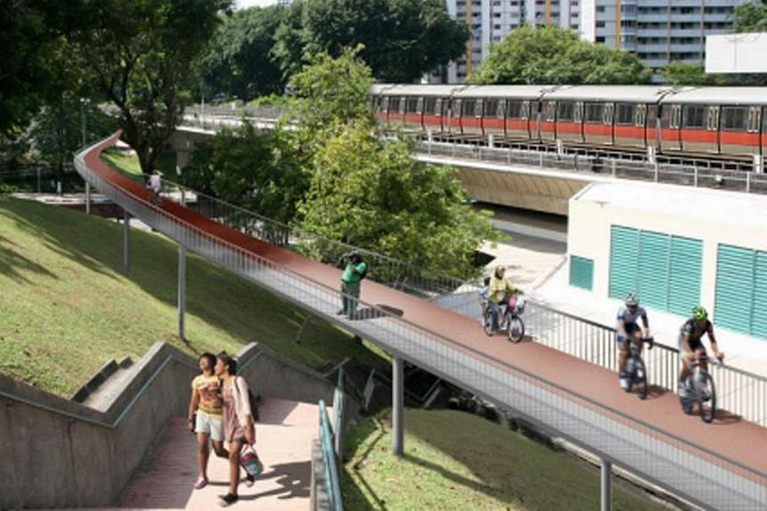 Artist's impression of Ang Mo Kio as Singapore's first model walking and cycling town.