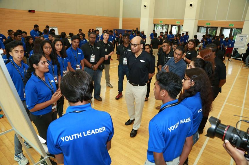 Deputy Prime Minister and Sinda chairman Tharman Shanmugaratnam interacting with participants of the annual Sinda Youth Leaders Seminar on Sunday (June 12).