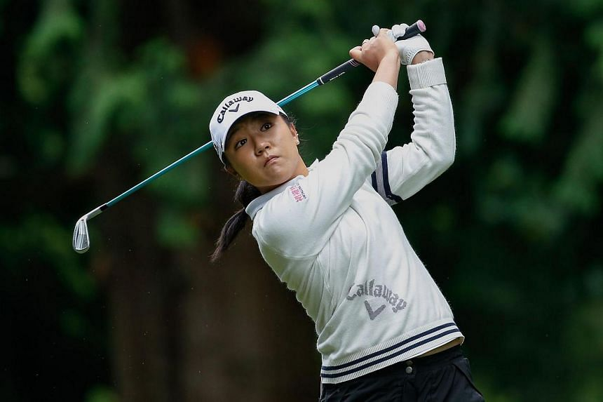 Lydia Ko hits a tee shot on the 9th tee during the third round of the Kpmg Women's PGA Championship at Sahalee Country Club.