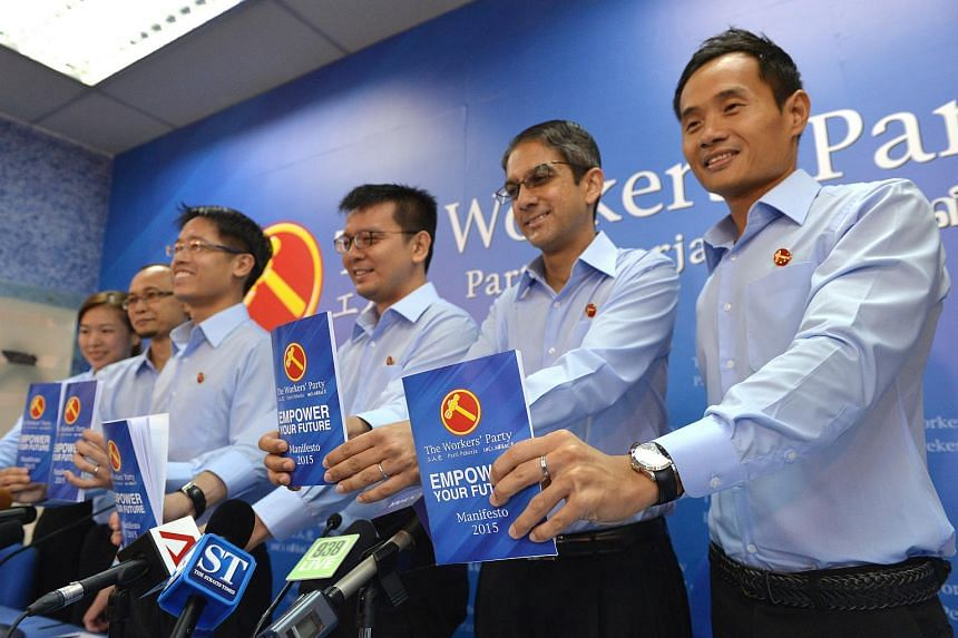 Workers' Party members (from left) He Ting Ru, Mohamed Fairoz Shariff, Gerald Giam, Daniel Goh, Leon Perera and Kenneth Foo at the launch of the party's 2015 election manifesto at its headquarters in Syed Alwi Road on Aug 29, 2015.