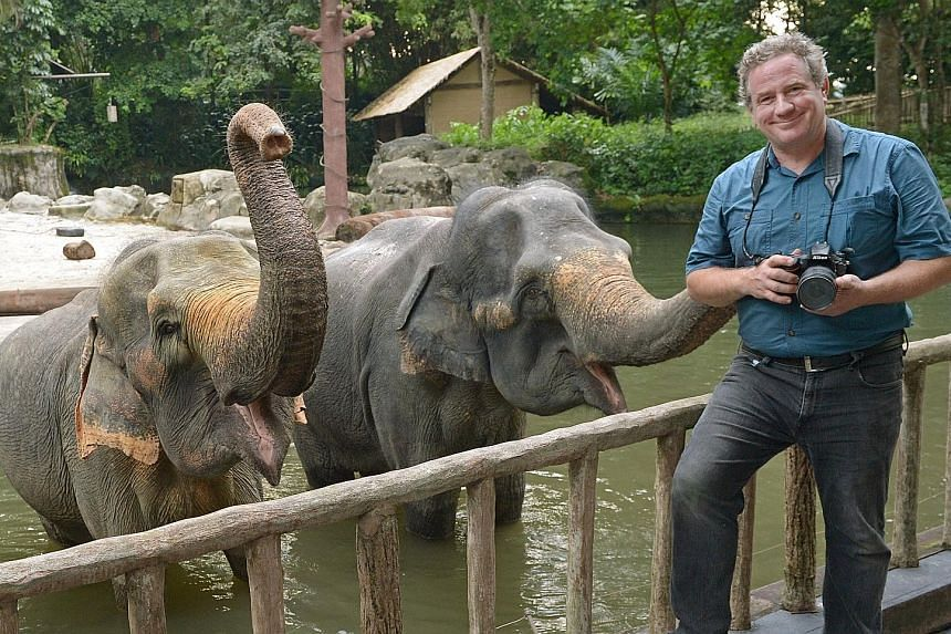 Photographer Joel Sartore at the elephant enclosure in the Singapore Zoo.