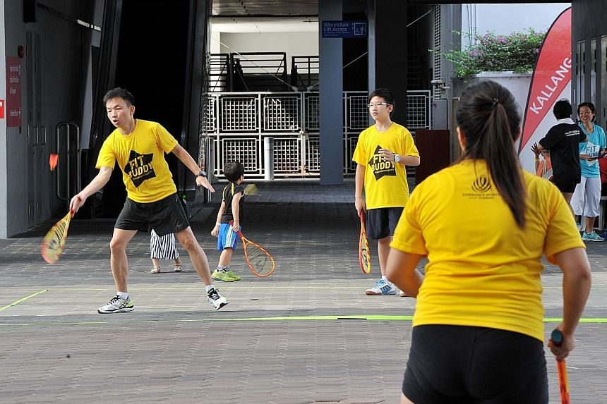 While beach volleyball was one of the many attractions at the inaugural Sports Hub Community Play Day last Saturday, people of all ages tried their hand at speedminton (above), a modified version of traditional badminton.