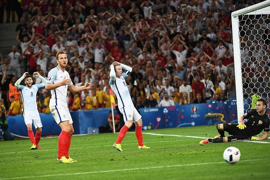 Above: England's (from left) Adam Lallana, Harry Kane and Wayne Rooney despairing in unison after another goal opportunity is thwarted by Russia goalkeeper Igor Akinfeev during their sides' 1-1 draw.