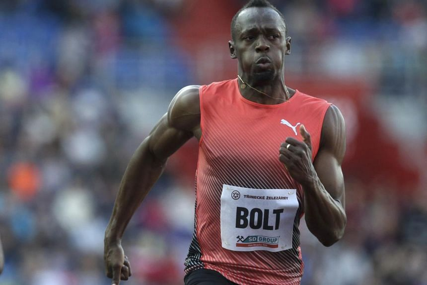 Usain Bolt competes in the men's 100m race during the IAAF Ostrava Golden Spike athletics meeting.