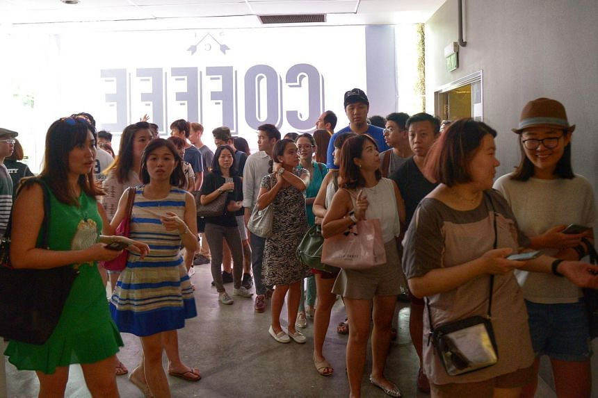Visitors in line to enter Singapore Coffee Festival on Saturday (June 11).