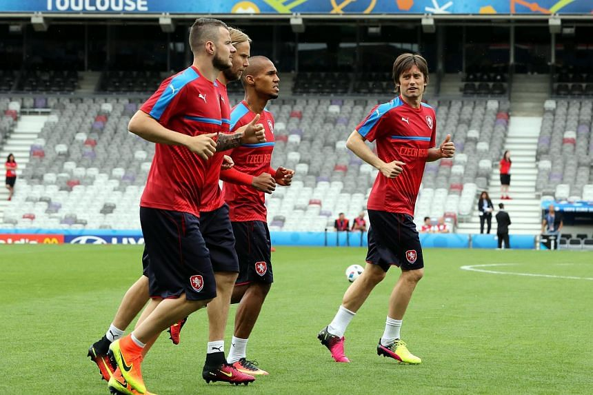Czech national soccer team player Tomas Rosicky (right) and teammates during a training session at Stade Municipal de Toulouse in Toulouse, France, on June 12.