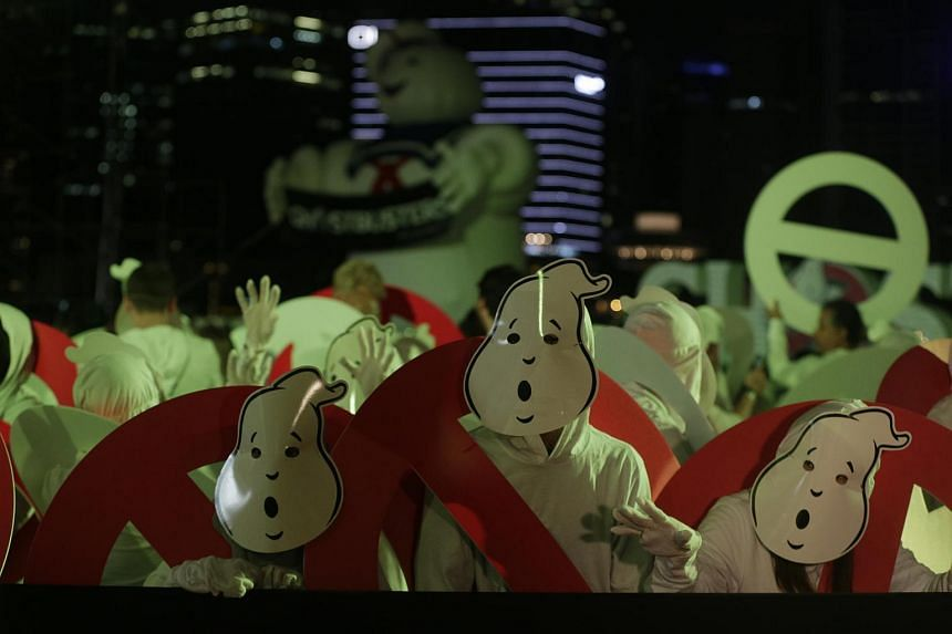 World record attempt for most number of people dressed as ghosts at Marina Bay Sands on June 12, during the Ghostbusters red carpet.