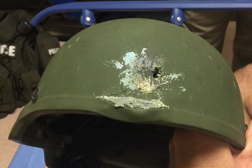 The kevlar helmet that saved the life of an Orlando Police Department officer.