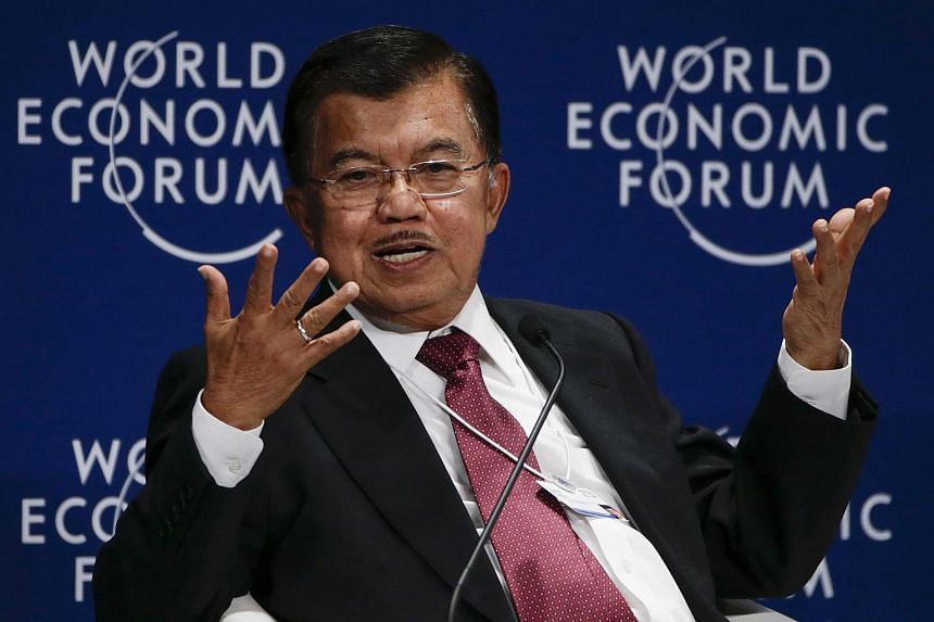 Vice President of Indonesia, Jusuf Kalla speaks during the World Economic Forum in Kuala Lumpur on June 1, 2016.