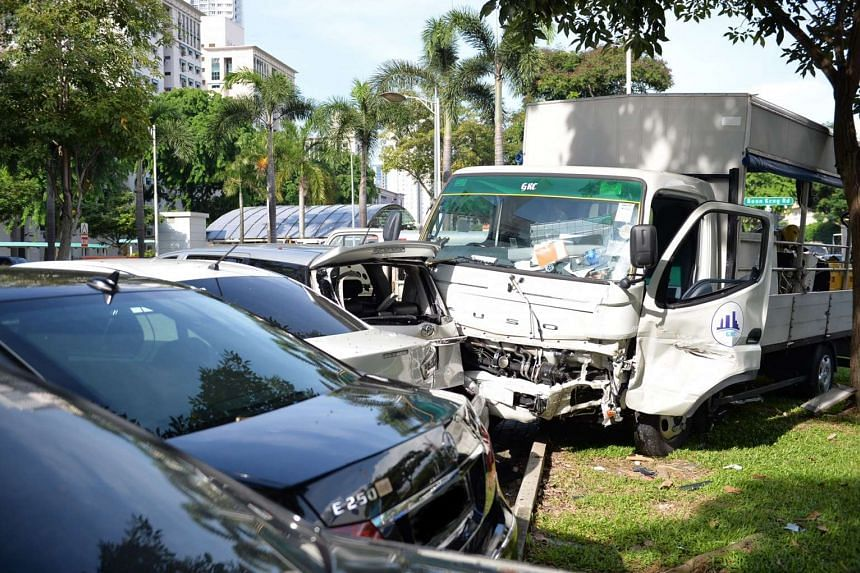 A lorry crashed into four parked cars at Boon Keng Road carpark on June 13, 2016.