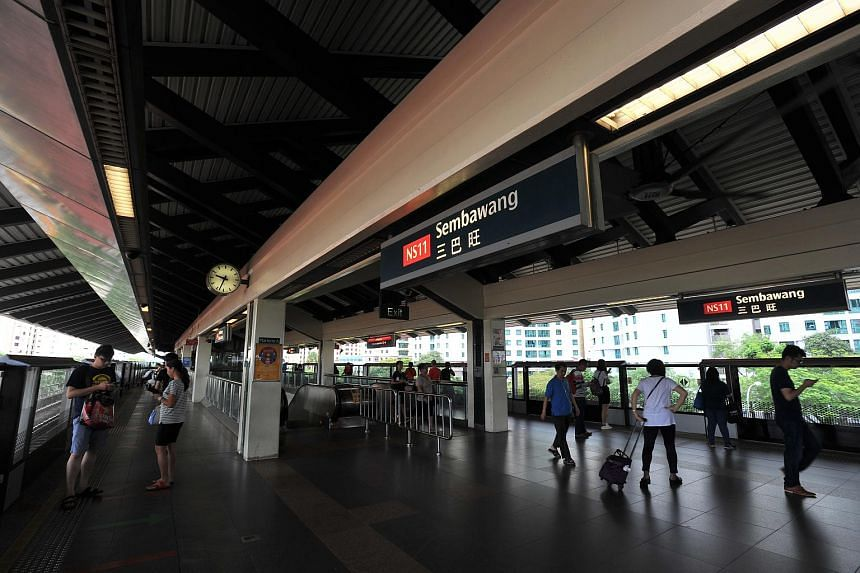 Commuters at Sembawang MRT station on May 26.