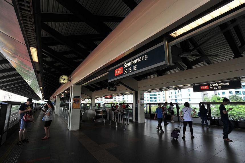 Commuters at Sembawang MRT station on May 26.